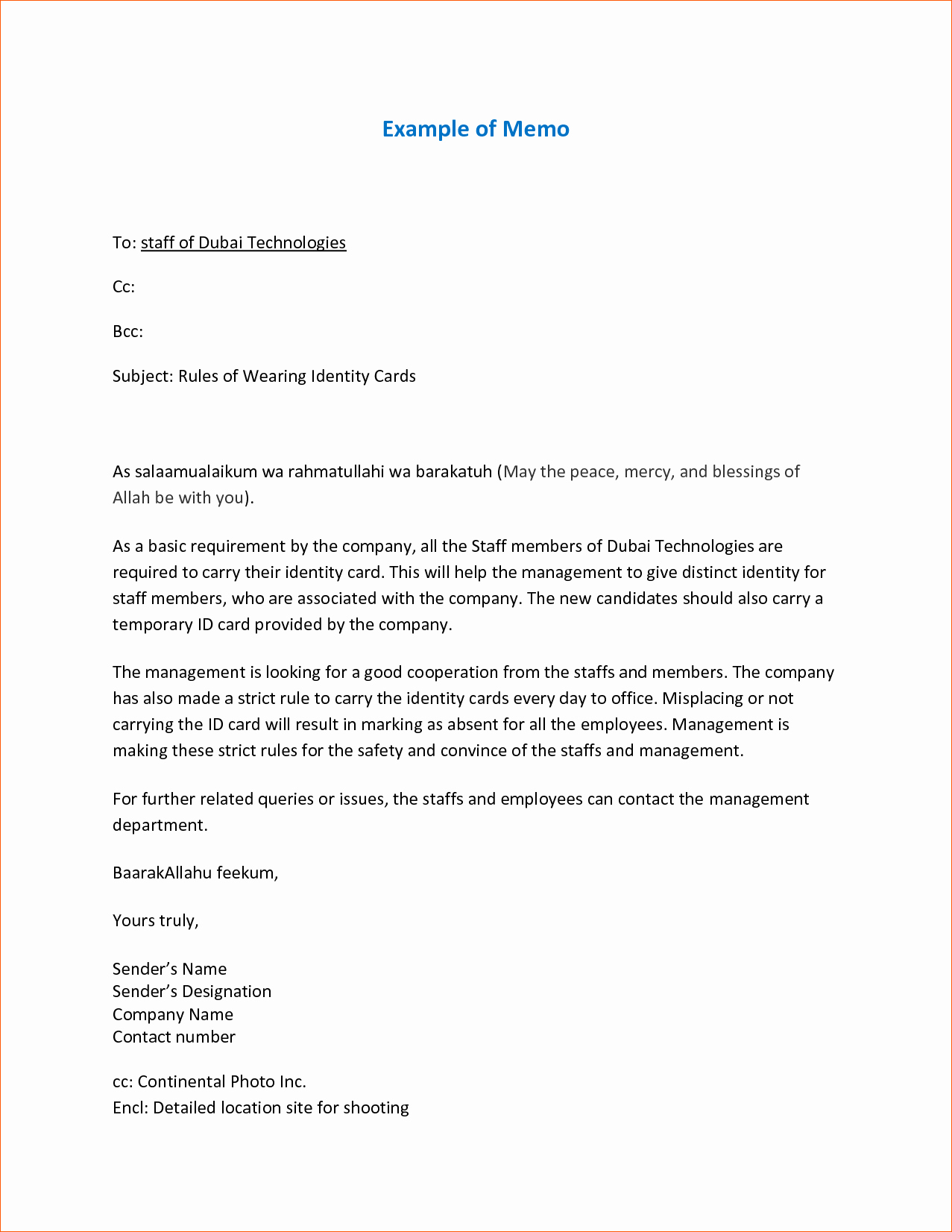 Example Of A Memo format Awesome 9 Sample Memo