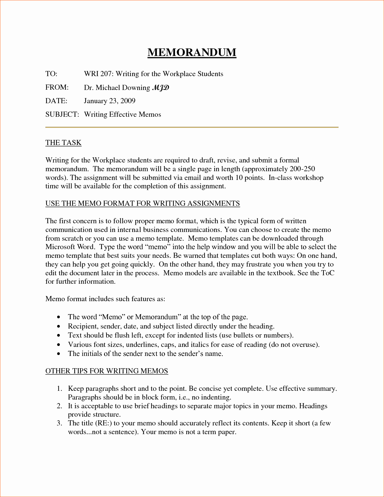 Example Of A Memo format Beautiful 10 Business Memorandum format