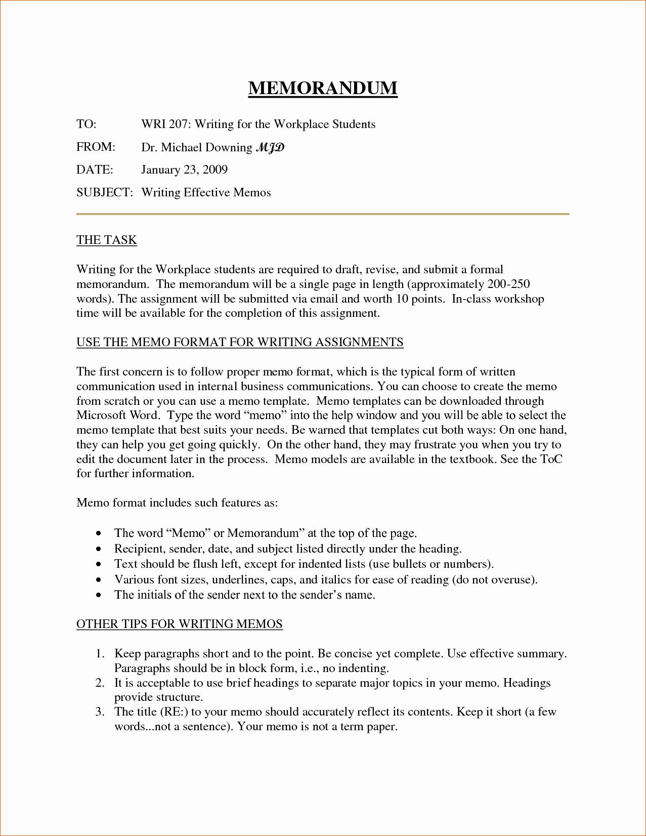 Example Of A Memo format Beautiful 10 Business Memorandum format