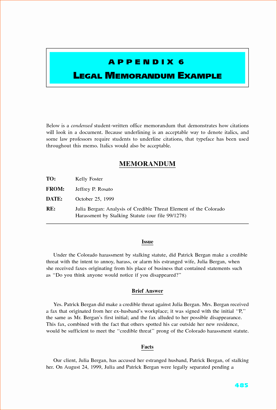 Example Of A Memo format Beautiful 8 Legal Memo Example