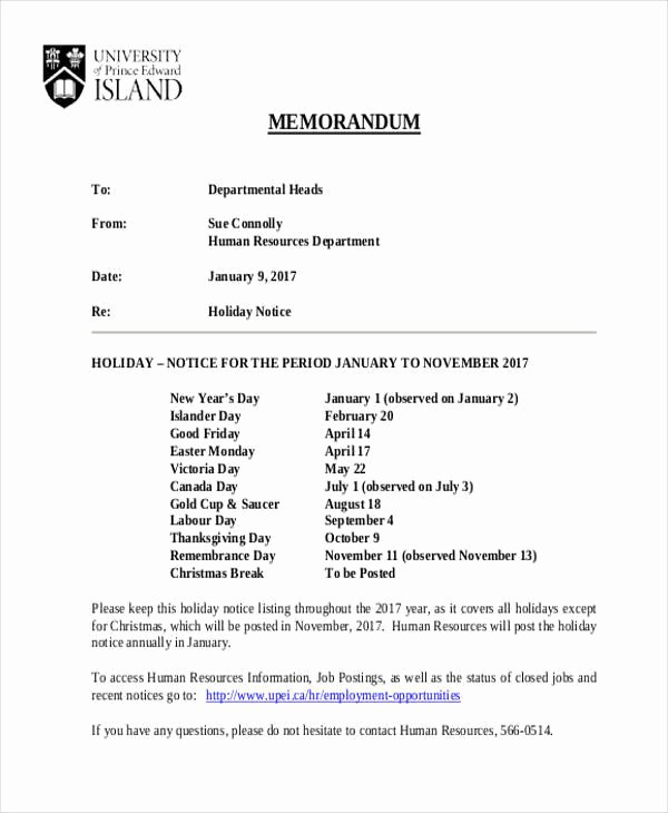 Example Of A Memo format Elegant 8 Notice Memo – Free Sample Example format Download