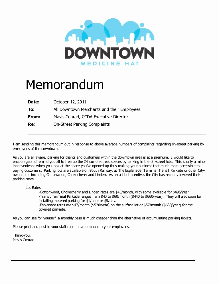 Example Of A Memo format Unique Parking Memorandum