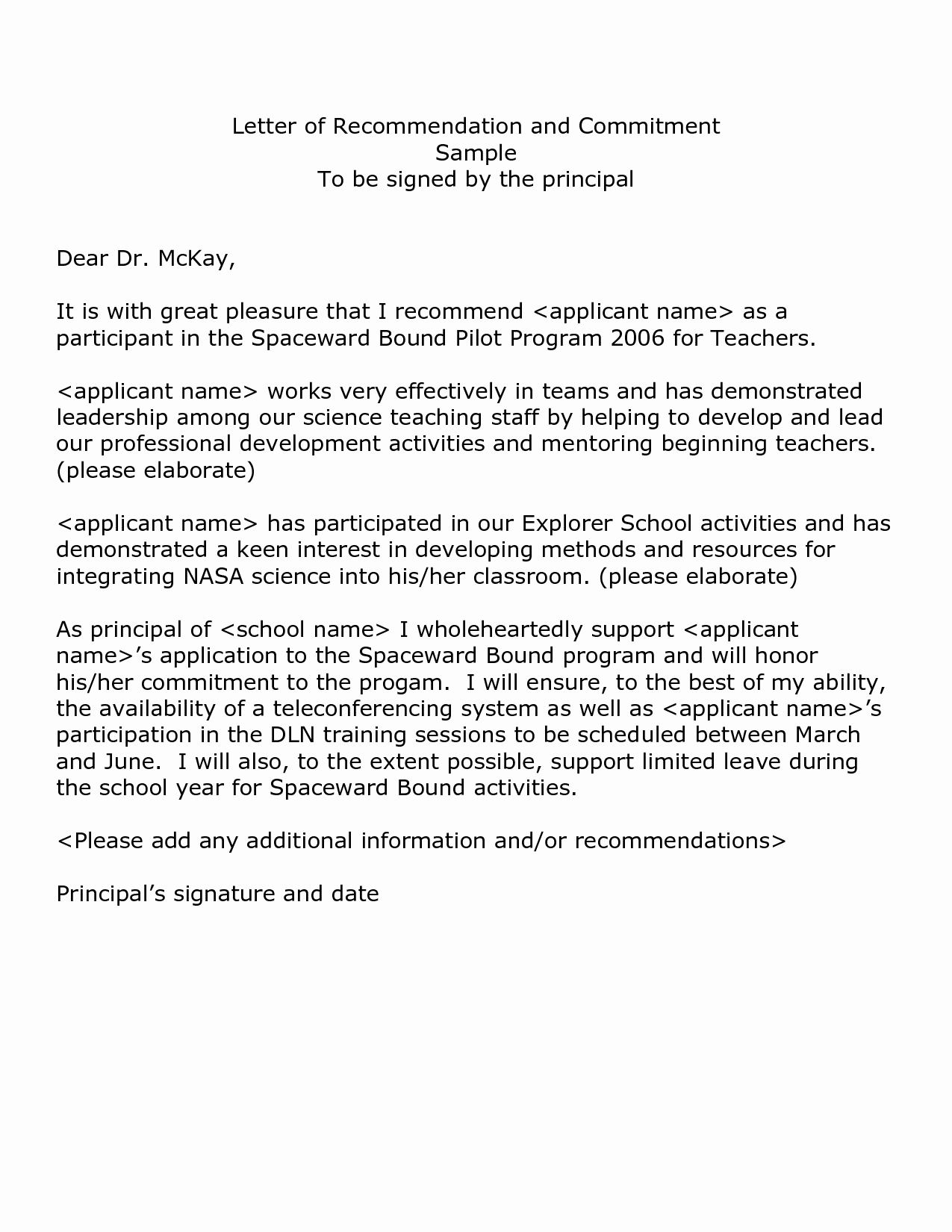 Example Of A Recommendation Letter Inspirational An Example A Letter Re Mendation Best Template