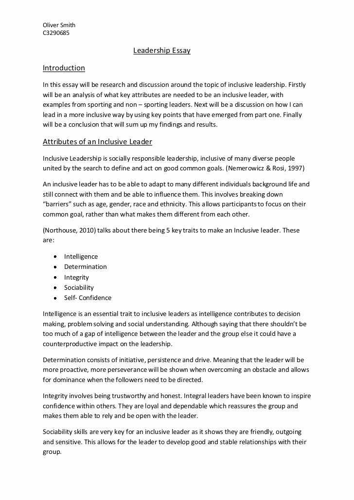 Example Of A Report Paper Best Of Leadership Essay