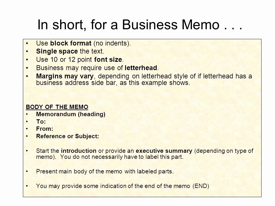 Example Of A Short Memo Elegant Basic Business Writing Ppt Video Online