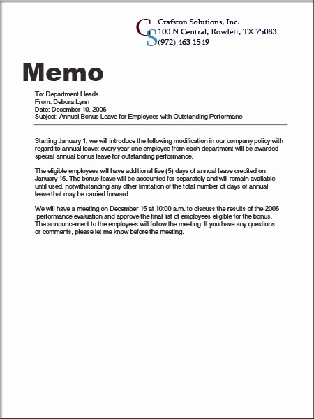 Example Of A Short Memo New Example Of Letters