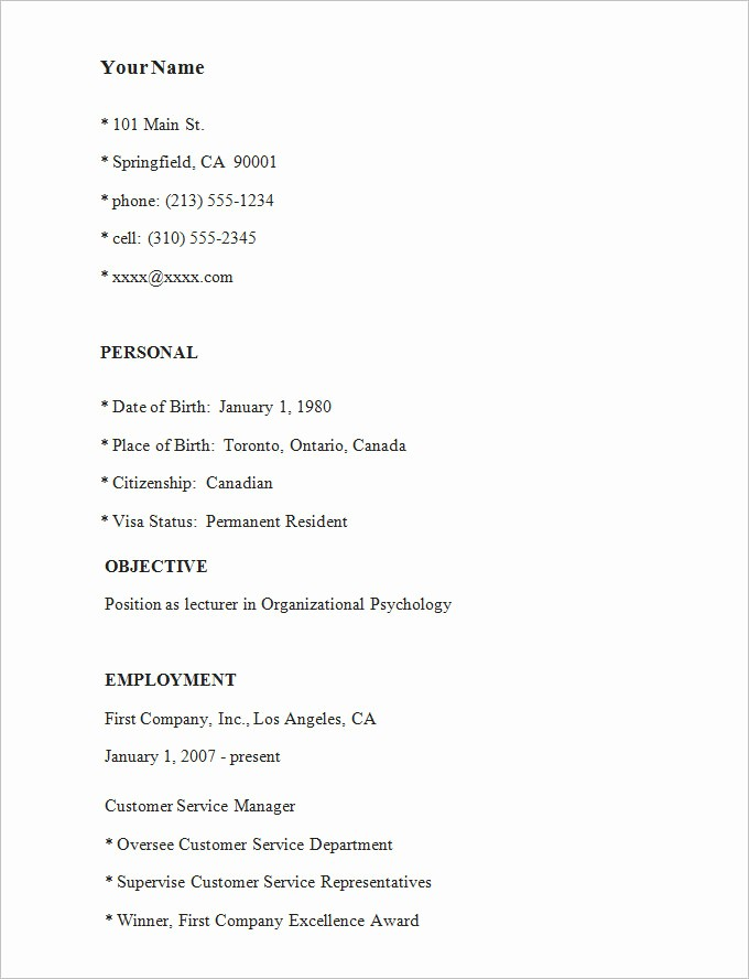 Example Of A Simple Resume Fresh Simple Resume Template 46 Free Samples Examples