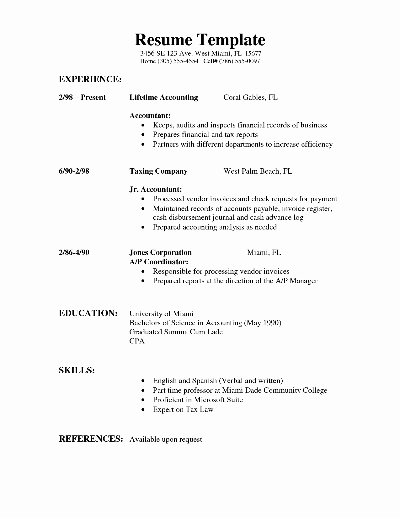 Example Of A Simple Resume Inspirational My Perfect Resume Templates