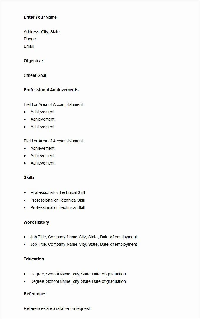Example Of A Simple Resume Lovely 70 Basic Resume Templates Pdf Doc Psd