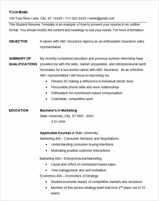 Example Of A Simple Resume New Basic Resume Template 70 Free Samples Examples format