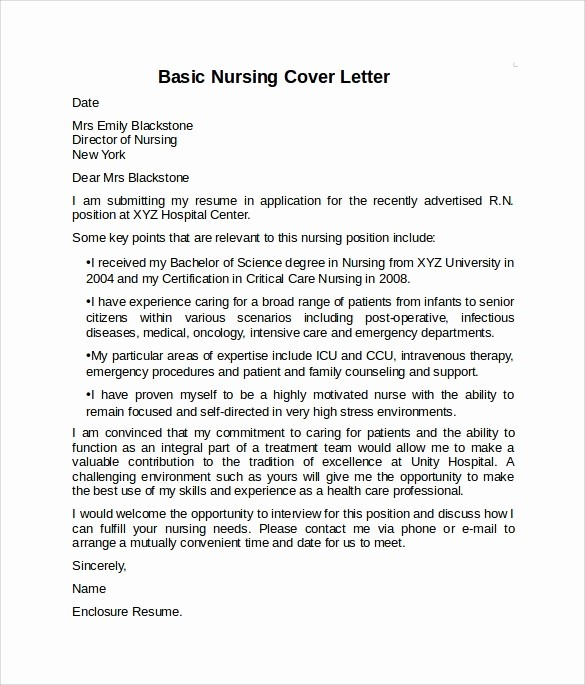 Example Of Basic Cover Letter Awesome 10 Sample Nursing Cover Letter Examples to Download