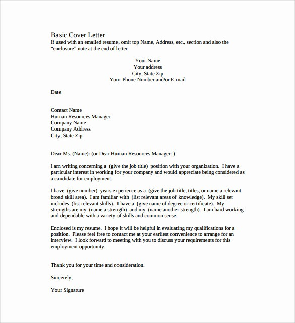 Example Of Basic Cover Letter Awesome 51 Simple Cover Letter Templates Pdf Doc