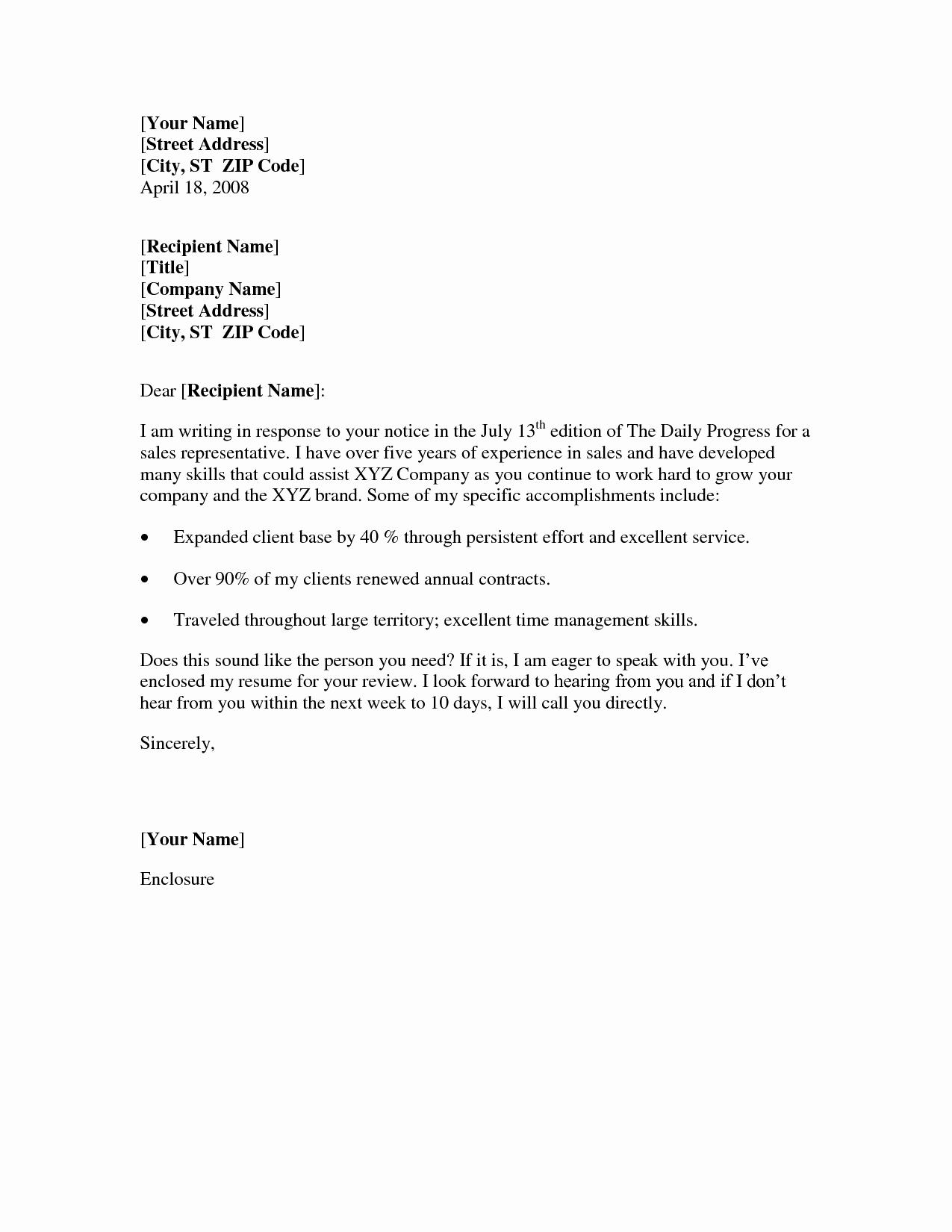 Example Of Basic Cover Letter Elegant 10 Best Of Basic Cover Letter for Resume Sample