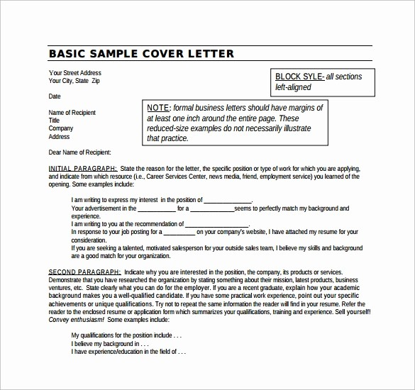 Example Of Basic Cover Letter Fresh 14 Cover Letter Examples for Jobs to Download