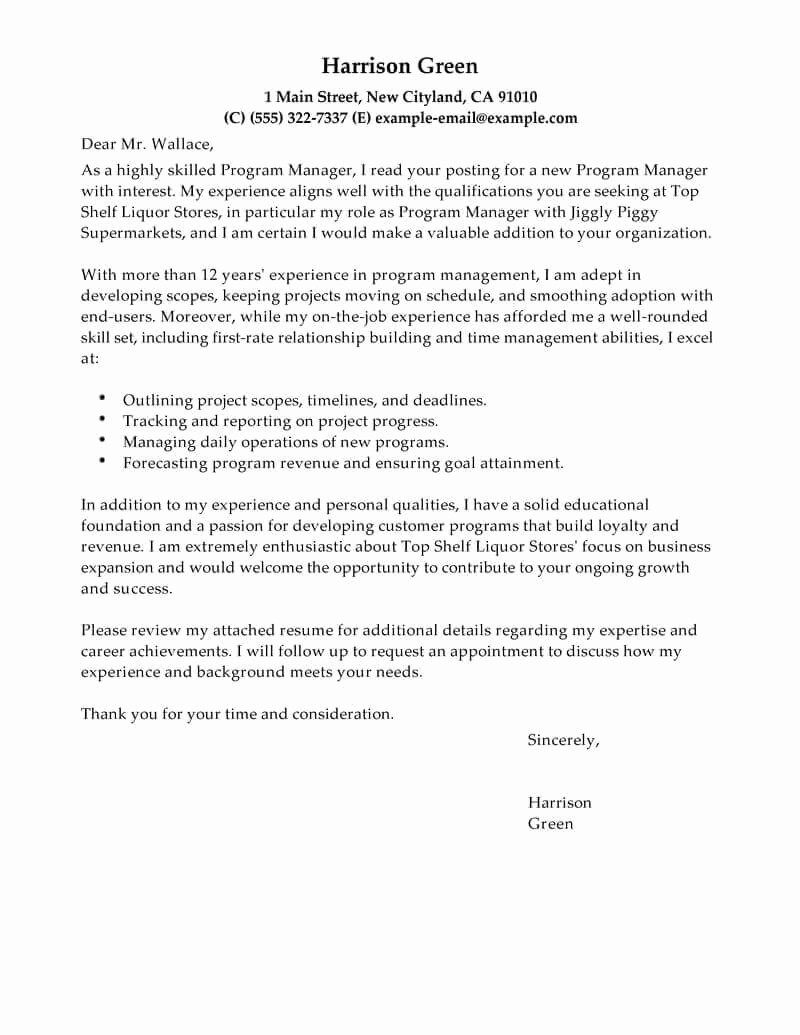 Example Of Basic Cover Letter Inspirational Free Cover Letter Examples for Every Job Search