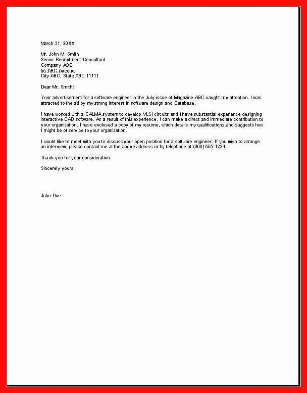 Example Of Basic Cover Letter Lovely Basic Cover Letter Sample