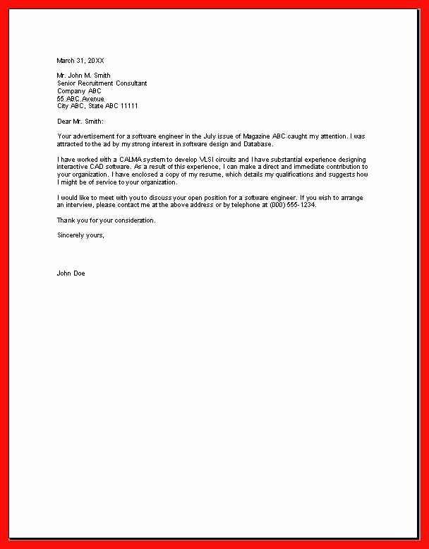 Example Of Basic Cover Letter Lovely Basic Cover Letter Sample