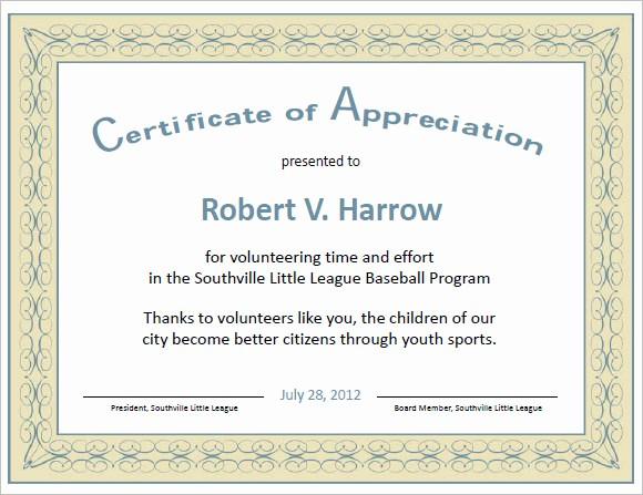 Example Of Certificate Of Appreciation Elegant 21 Certificate Of Appreciation Templates – Free Samples