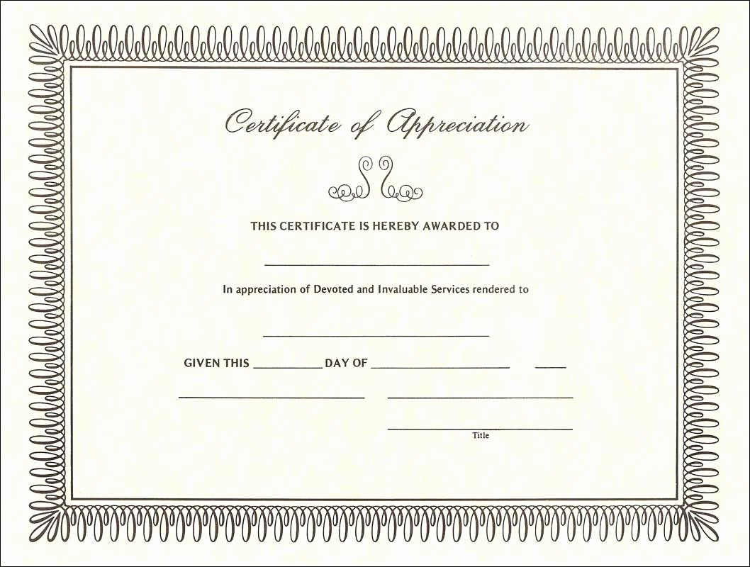 Example Of Certificate Of Appreciation Elegant Blank Template for Certificate Appreciation Templates