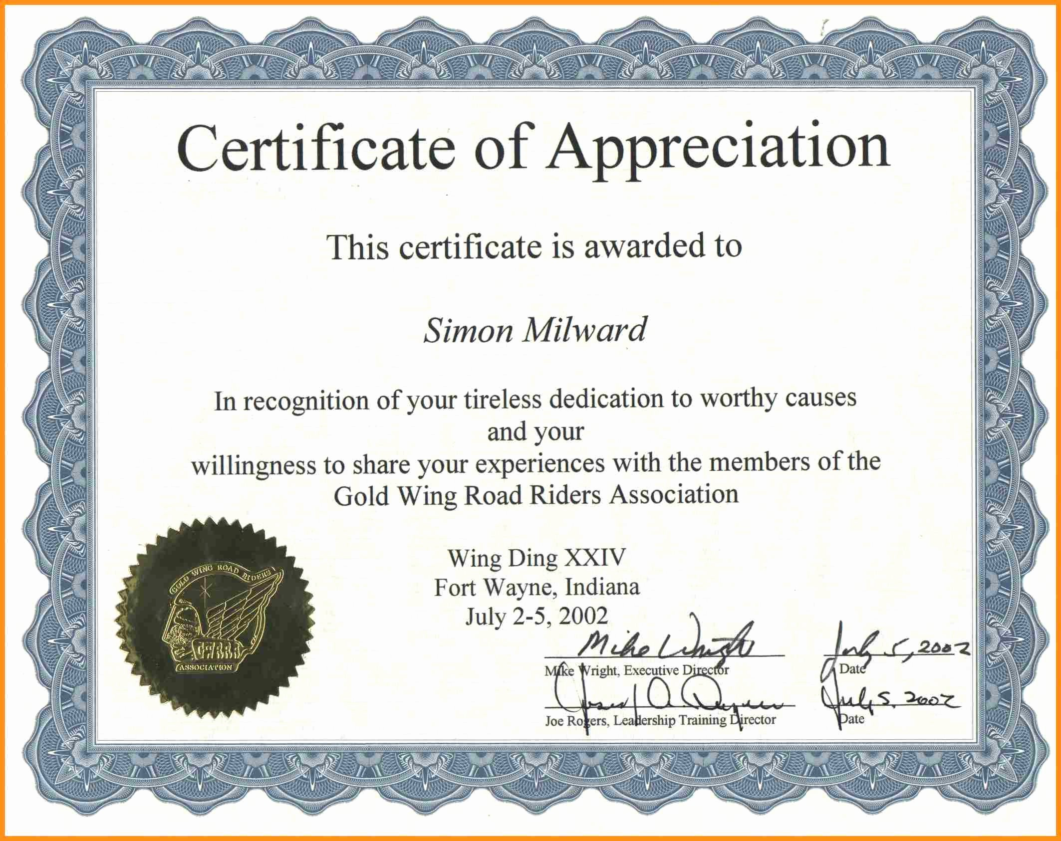 Example Of Certificate Of Appreciation Elegant Certificate Appreciation Examples