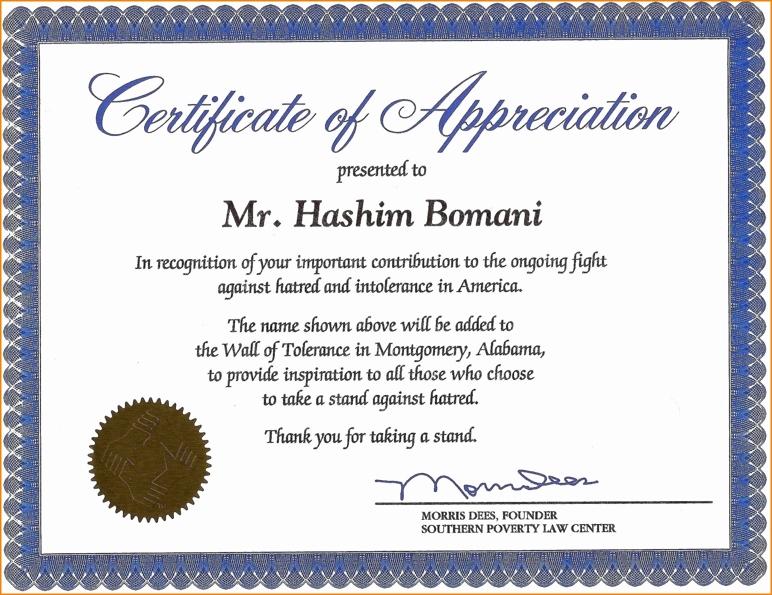 Example Of Certificate Of Appreciation Inspirational 18 Appreciation Certificates Wording