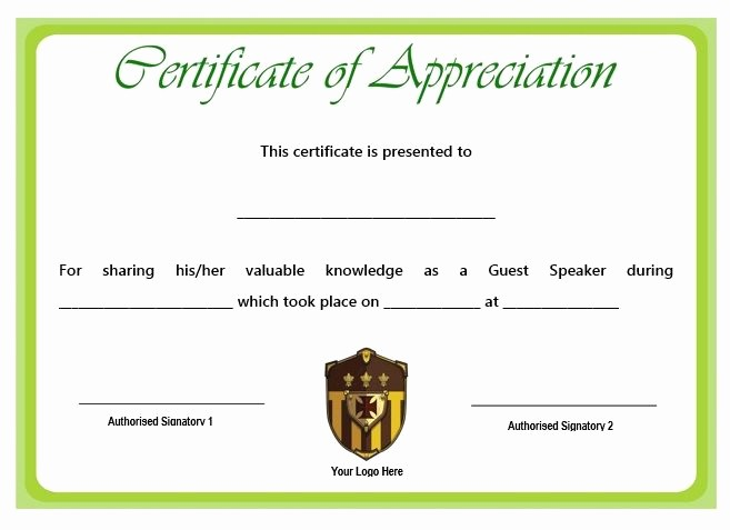Example Of Certificate Of Appreciation Lovely Sample Certification Of Appreciation for Guest Speaker 1