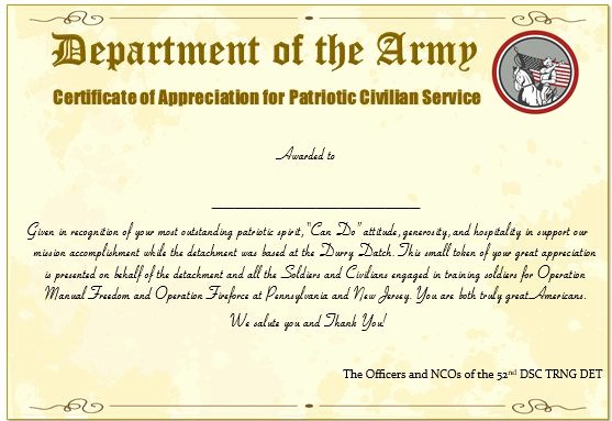 Example Of Certificate Of Appreciation Luxury 20 Professional Army Certificate Of Appreciation