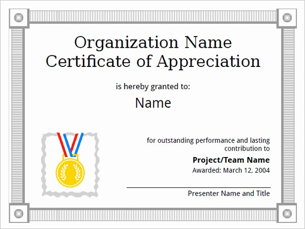 Example Of Certificate Of Appreciation New 9 Certificate Of Appreciation Templates – Free Samples