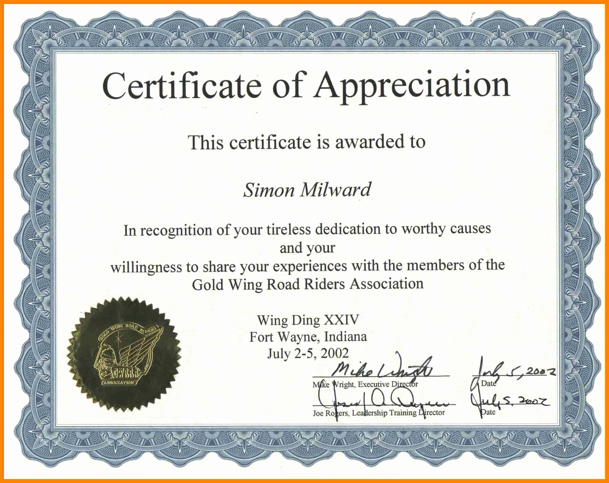 Example Of Certificate Of Appreciation Unique Certificate Appreciation Wording Examples