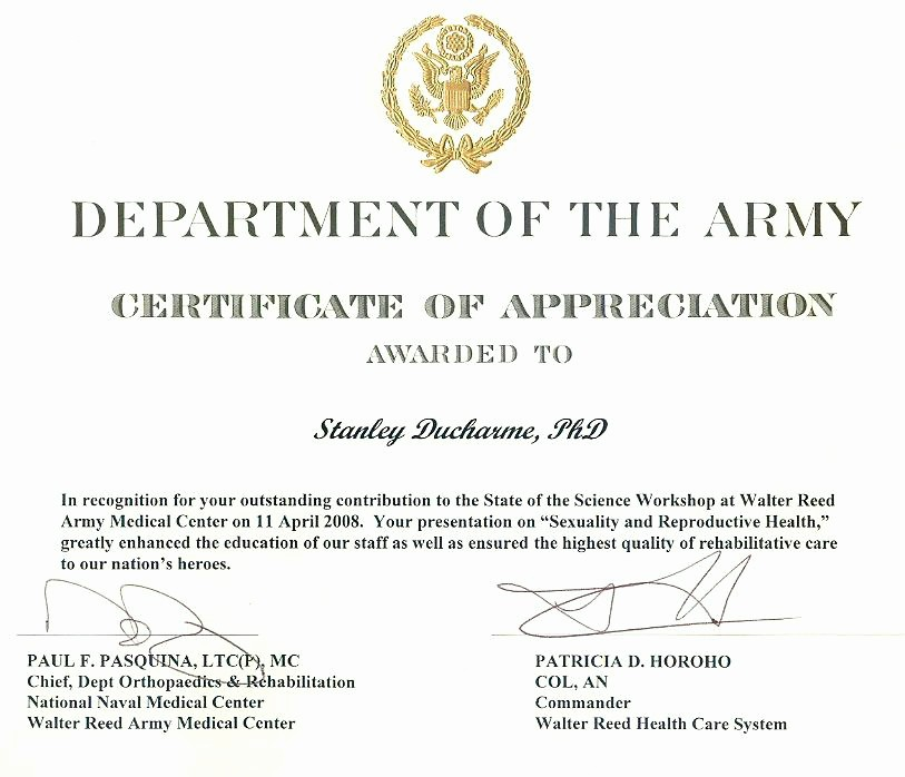 Example Of Certificate Of Appreciation Unique Sample Army Certificate Appreciation Example Us Wording