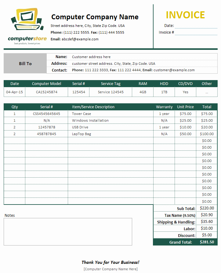 Example Of Invoice for Services Elegant Puter Sales & Service Invoice Template