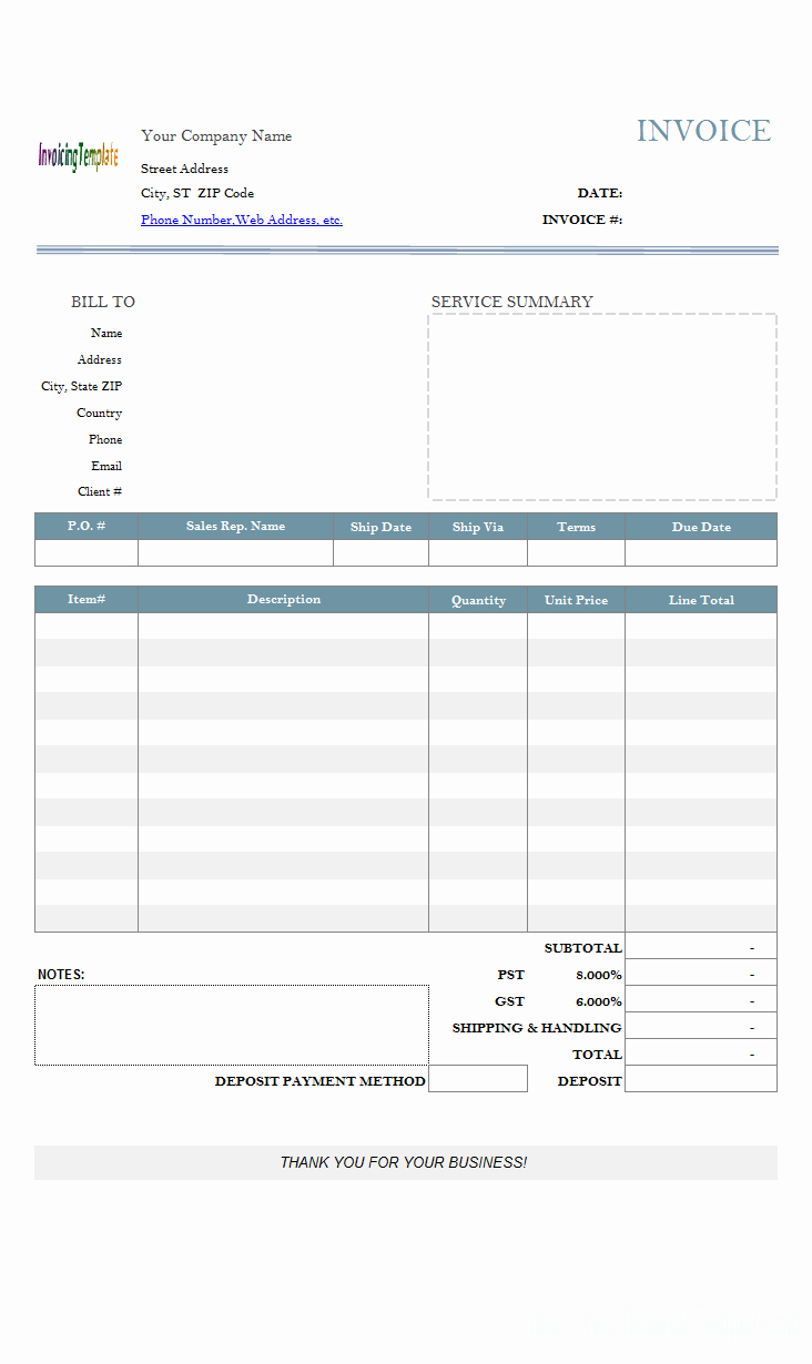 Example Of Invoice for Services Lovely Invoice Template with Deposit