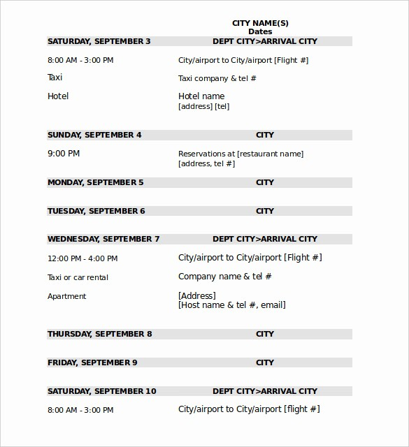 Example Of Itinerary for tour Awesome 32 Travel Itinerary Templates Doc Pdf