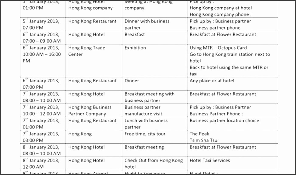 Example Of Itinerary for tour Best Of 5 tour Itinerary Template Sampletemplatess