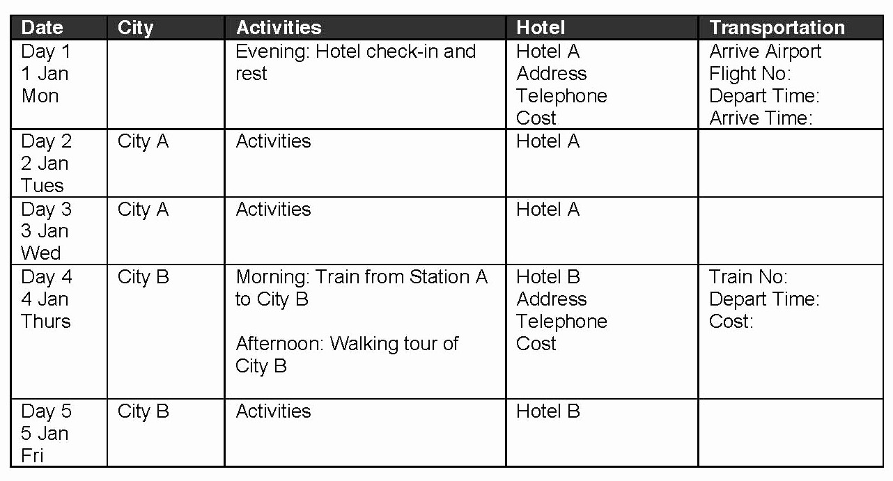 Example Of Itinerary for tour Fresh 10 Best Of Samples Itinerary formats Sample