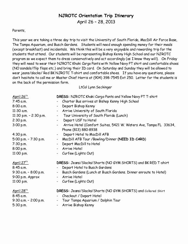 Example Of Itinerary for tour Fresh Bishop Kenny Njrotc Spring Trip Itinerary for Parents