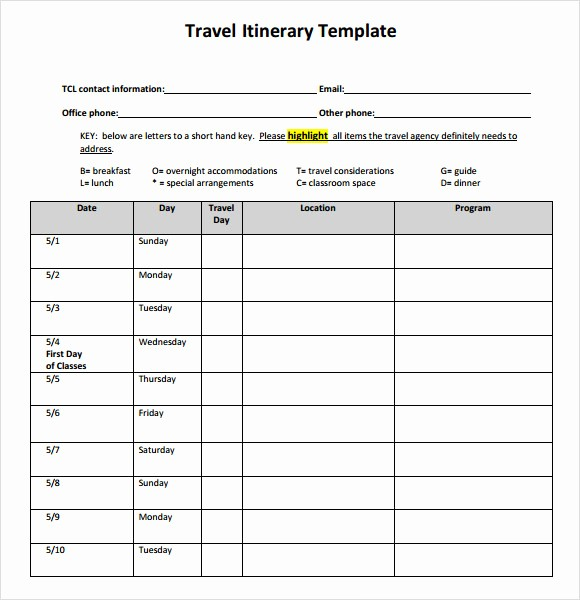 Example Of Itinerary for tour Inspirational 6 Sample Travel Itinerary Templates to Download