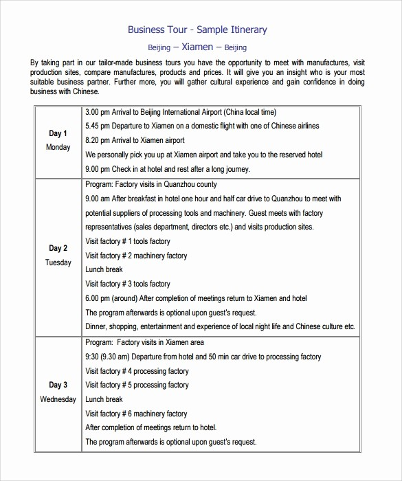 Example Of Itinerary for tour Lovely 8 Useful Itinerary Templates