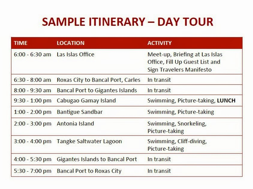 Example Of Itinerary for tour Luxury Best Affordable Gigantes islands tour Packages