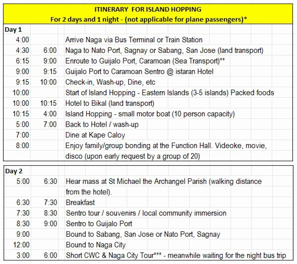 Example Of Itinerary for tour Luxury Itinerary for island Hopping – 2 Days 1 Night