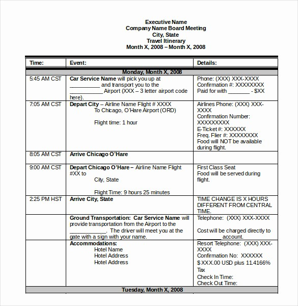 Example Of Itinerary for tour New Itinerary Template – 15 Free Word Excel Pdf Documents