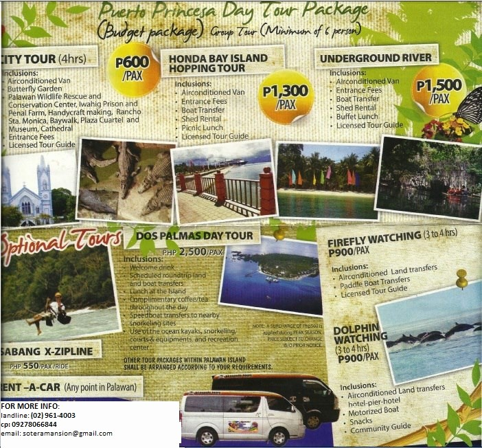 Example Of Itinerary for tour Unique 3d2n Puerto Princesa tour Package Itinerary – where S Boppie
