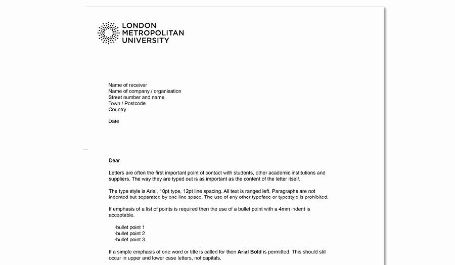 Example Of Letter Headed Paper Elegant Headed Paper London Metropolitan University