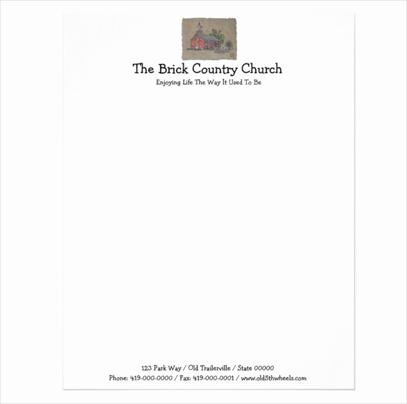 Example Of Letter Headed Paper New Sample Church Letterhead