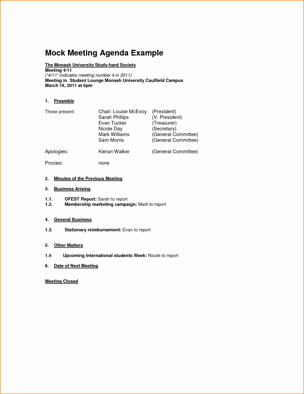 Example Of Meeting Agenda format Awesome 5 Meeting Agenda format