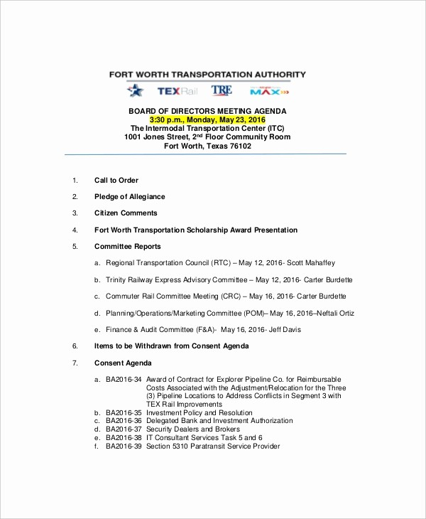 Example Of Meeting Agenda format Beautiful 12 Strategy Meeting Agenda Templates – Free Sample