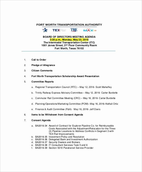 Example Of Meeting Agenda format Beautiful 12 Strategy Meeting Agenda Templates – Free Sample
