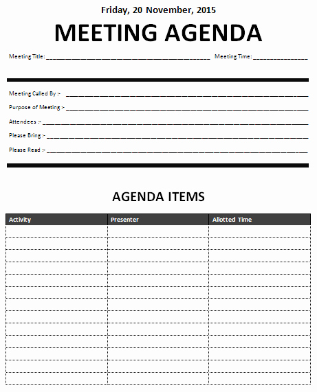 Example Of Meeting Agenda format Beautiful 15 Meeting Agenda Templates Excel Pdf formats
