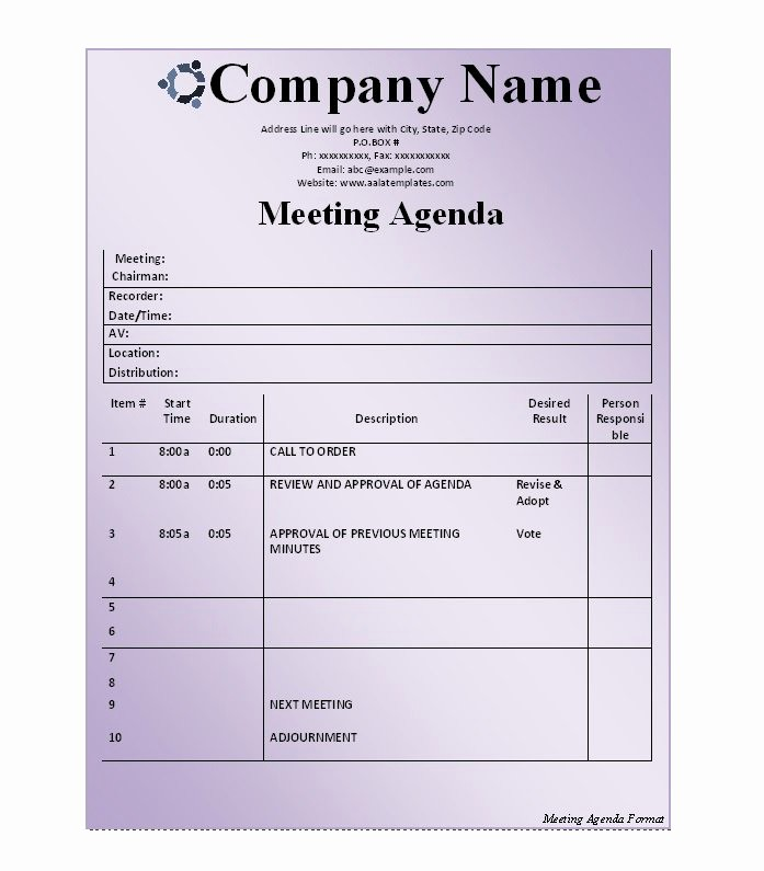 Example Of Meeting Agenda format Beautiful 51 Effective Meeting Agenda Templates Free Template
