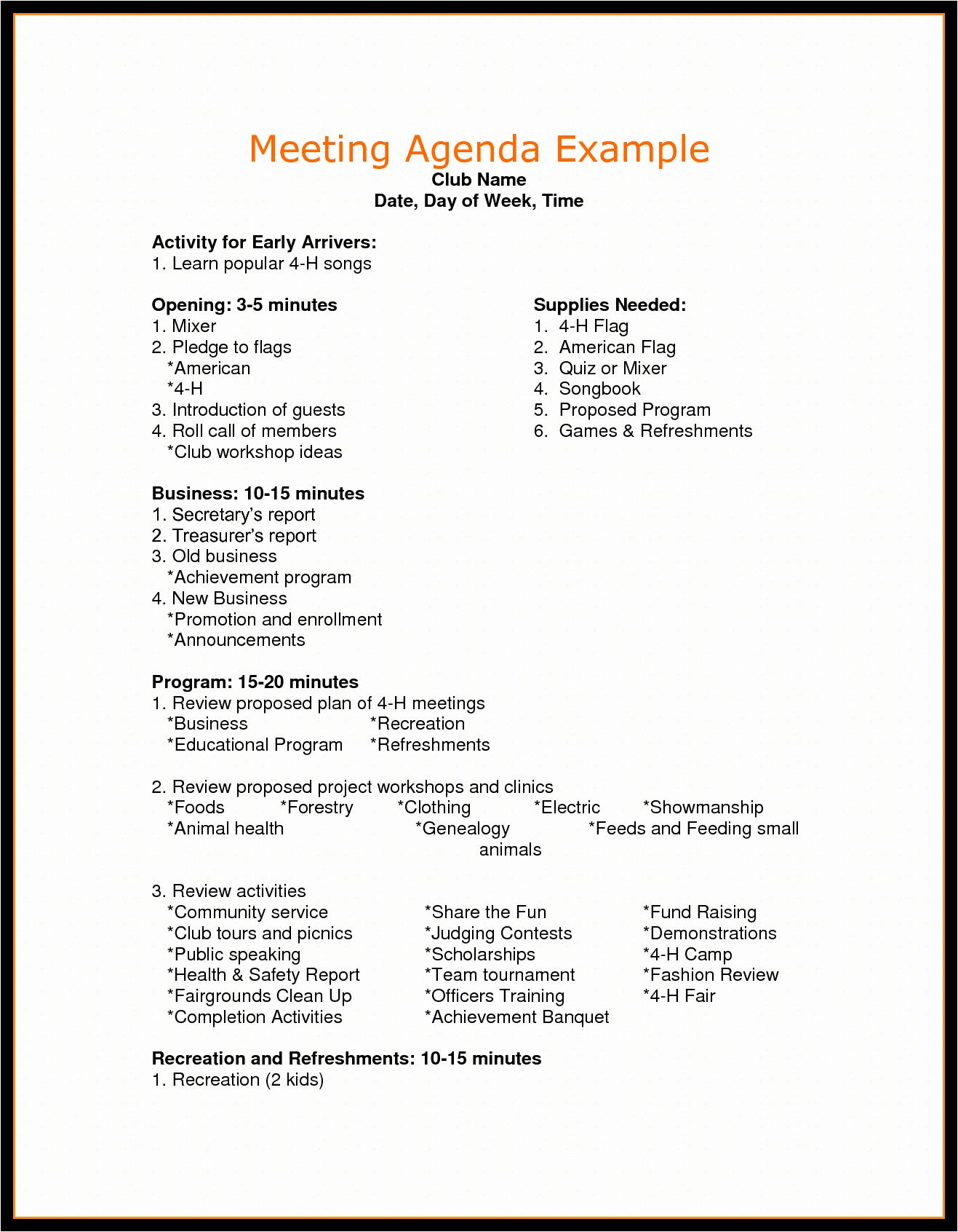 Example Of Meeting Agenda format Fresh Agenda for Meeting Example Mughals